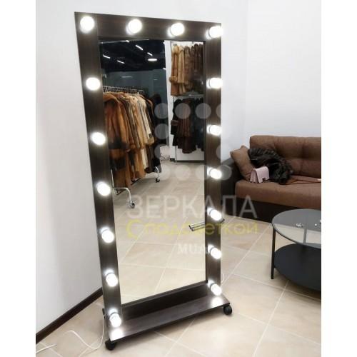 Гримерное зеркало с подсветкой венге на подставке 175х80
