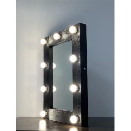 Гримерное зеркало с подсветкой 70х50 в дереве
